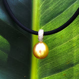 Golden Broome Pearl Diamond Pendant 9ct