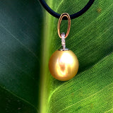 9ct Golden Oval Drop Broome Pearl and Diamond Pendant