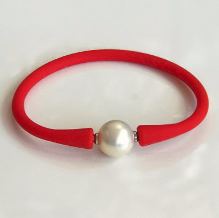 Easy Fit Shell Pearl Red Silicone Bracelet