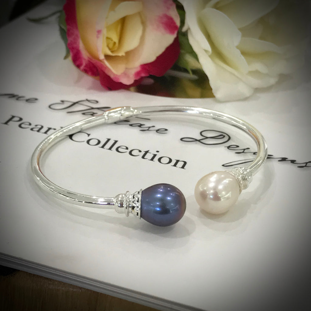 Cultured Freshwater Pearl Hinged Bangle Sterling Silver  >> FREE XMAS WRAPPING!