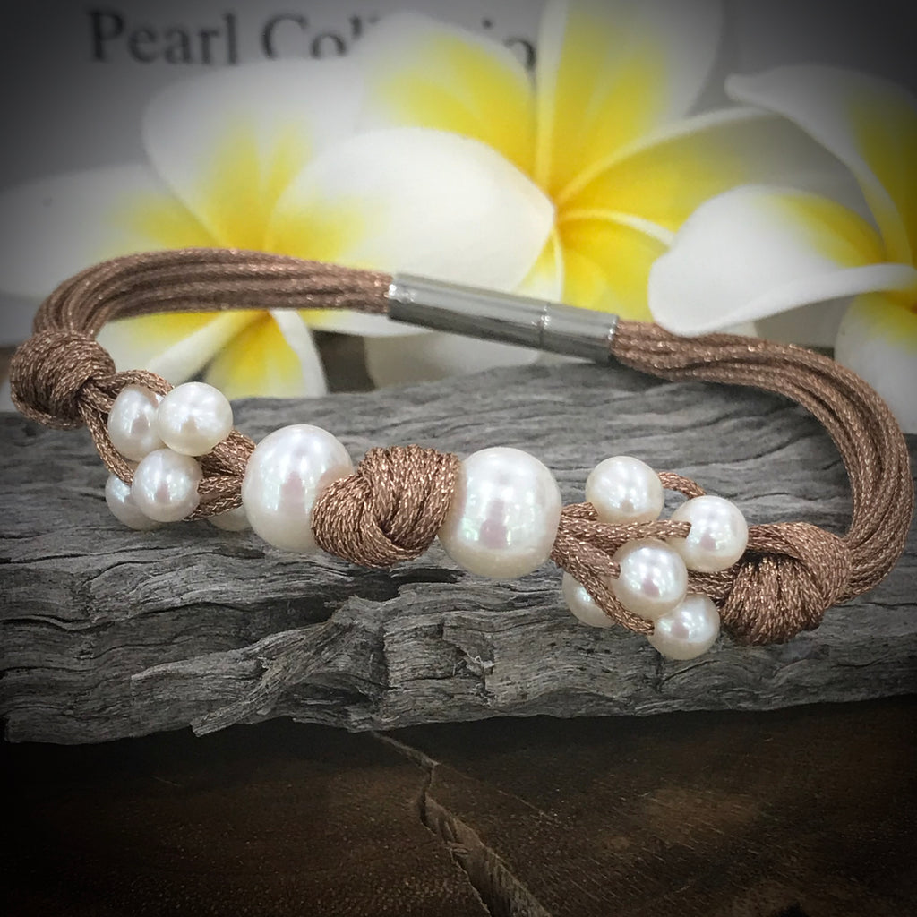 Cultured Freshwater Pearl Rose Gold Colour Bracelet