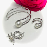 Stunning Cultured Pearl Half Moon Cuff Bangle