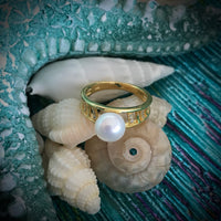 Cultured Freshwater CZ Pearl Ring Gold