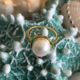 Cultured Freshwater Pearl Ring Gold