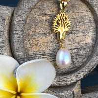 Cultured Freshwater Pearl Boab Tree Pendant Gold