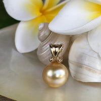 Golden Broome Pearl Pendant Antique Scroll Gold Bail