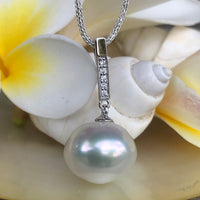 Broome Pearl Pendant Sterling Silver and CZ Bail