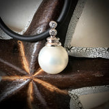 Shell Pearl Pendant Sterling Silver with Cubic Zirconia's