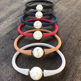 Shell Pearl with Mother of Pearl Inlay 12mm Easy Fit Silicone Bracelet