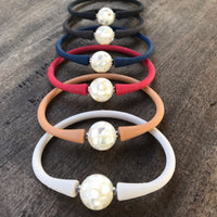 Shell Pearl with Mother of Pearl Inlay 14mm Easy Fit Silicone Bracelet