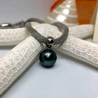 Tahitian Pearl Drop Snake Mesh Necklace