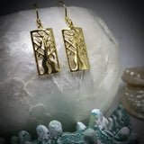 Boab Tree Earrings Rectangle Gold