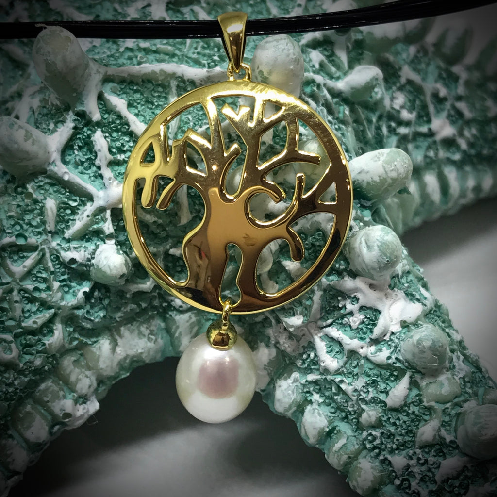 Cultured Freshwater Pearl Boab Tree Pendent Round Gold