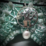 Cultured Freshwater Pearl Boab Tree Pendent Round Sterling Silver
