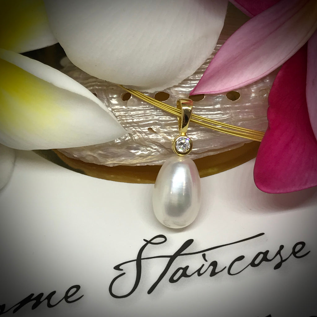 "Cultured Freshwater Pearl and CZ Pendant (PLS IGNORE THE ""SALE OVER BANNER"")"