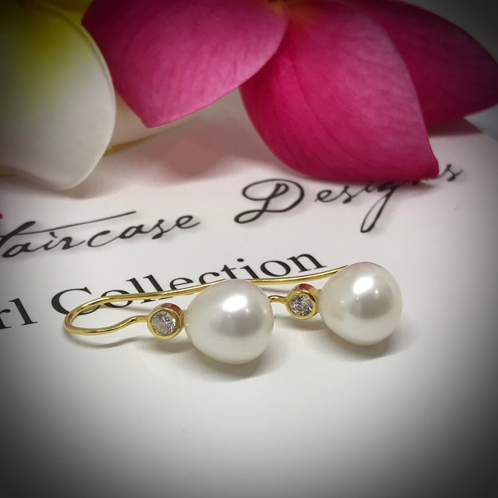 Cultured Freshwater Pearl & CZ Gold Hook Earrings