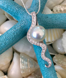 Broome Pearl and Diamonds Gantheaume Staircase Pendant 18ct White Gold