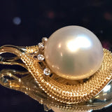 Broome Pearl Leaf Diamond Pendant