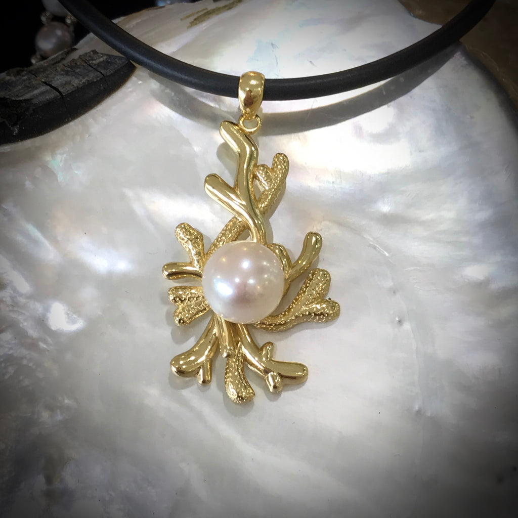 Coral Design Cultured Freshwater Pearl Pendant Gold