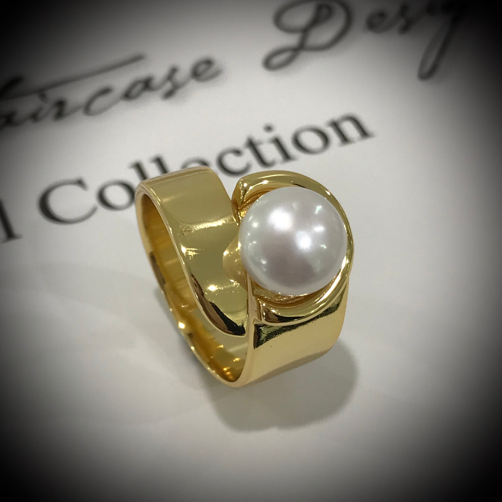 Adjustable Cultured Freshwater Pearl Ring Gold