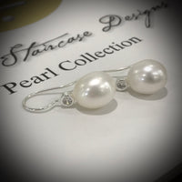Cultured Freshwater Pearl & CZ Sterling Silver Hook Earrings