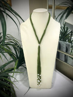 Cultured Freshwater Pearl Multi Stand Silk Ribbon Lariat Necklace