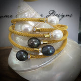 Cultured Freshwater Pearl and CZ Mesh Bracelet