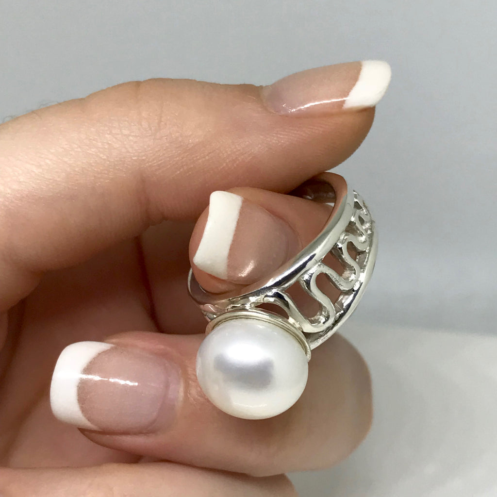 Cultured Pearl Staircase to the Moon Ring