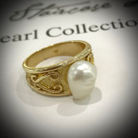 9ct Gold Australian South Sea Keshi Pearl Ring