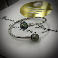 Double Cultured Tahitian Pearl Sterling Silver Bangle