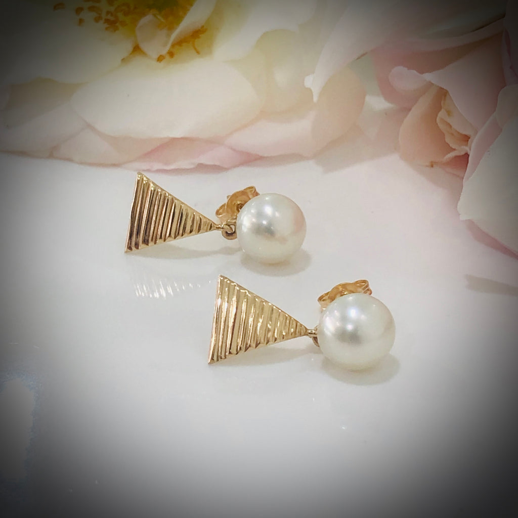 9ct Broome Pearl Staircase Earrings