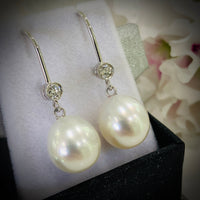 18ct White Gold Broome Pearl & Diamond Earrings