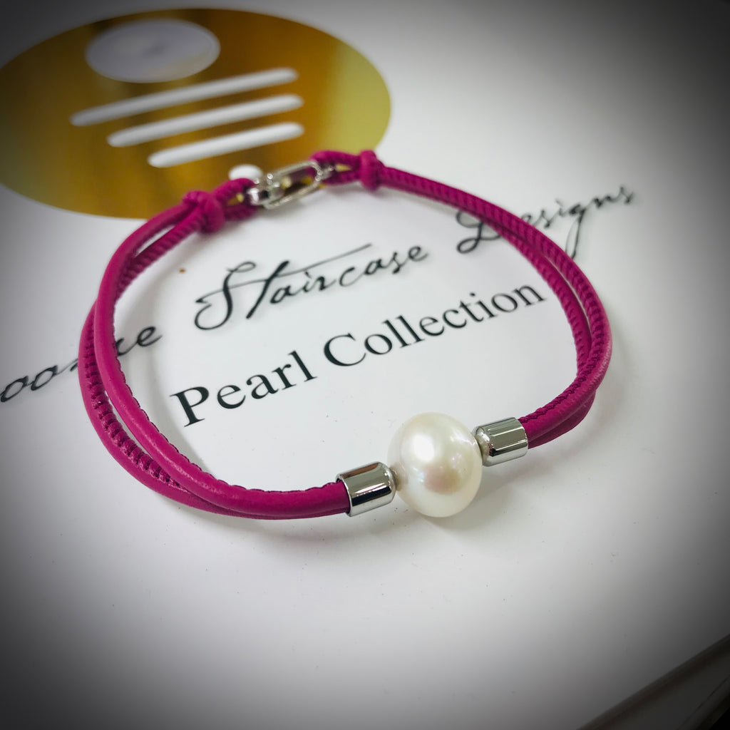 Cultured Freshwater Pearl Leather Bracelet Pink