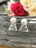 Cultured Freshwater 925 Staircase Pearl Stud Earrings
