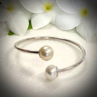 Broome and Golden South Sea Pearl Sterling Silver Flexi Bangle