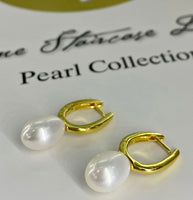 Cultured Freshwater Pearl Huggie Earrings
