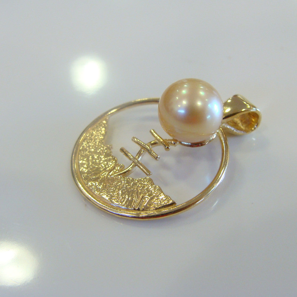 South Sea Golden Pearl Quondong Staircase Pendant 18ct Gold