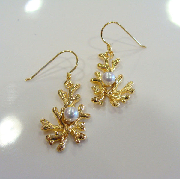 Coral Design Cultured Freshwater Pearl Earrings Gold