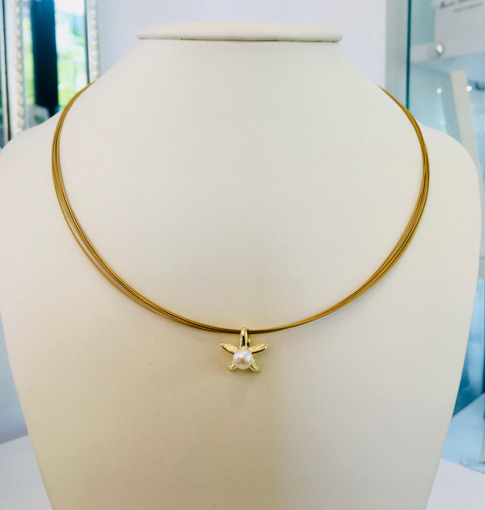 Cultured Freshwater Pearl Gold Starfish Pendant