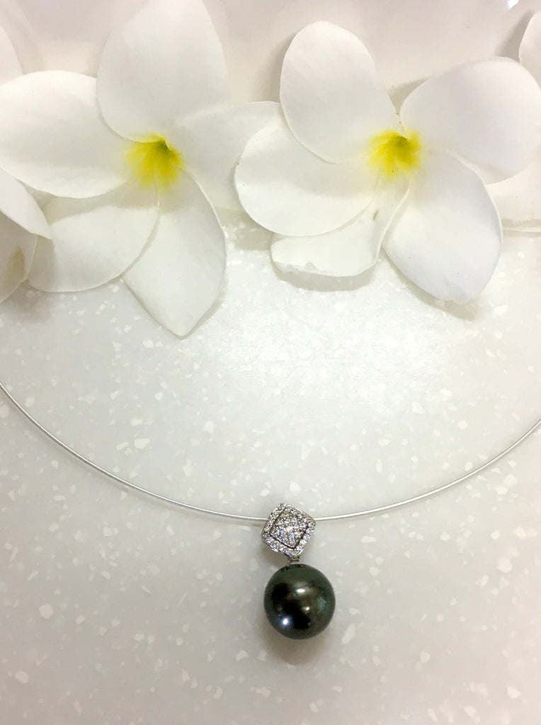 Tahitian Pearl and Sterling Silver CZ Pendant