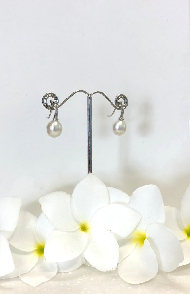 Broome Pearl Earrings 18ct White Gold & Diamonds