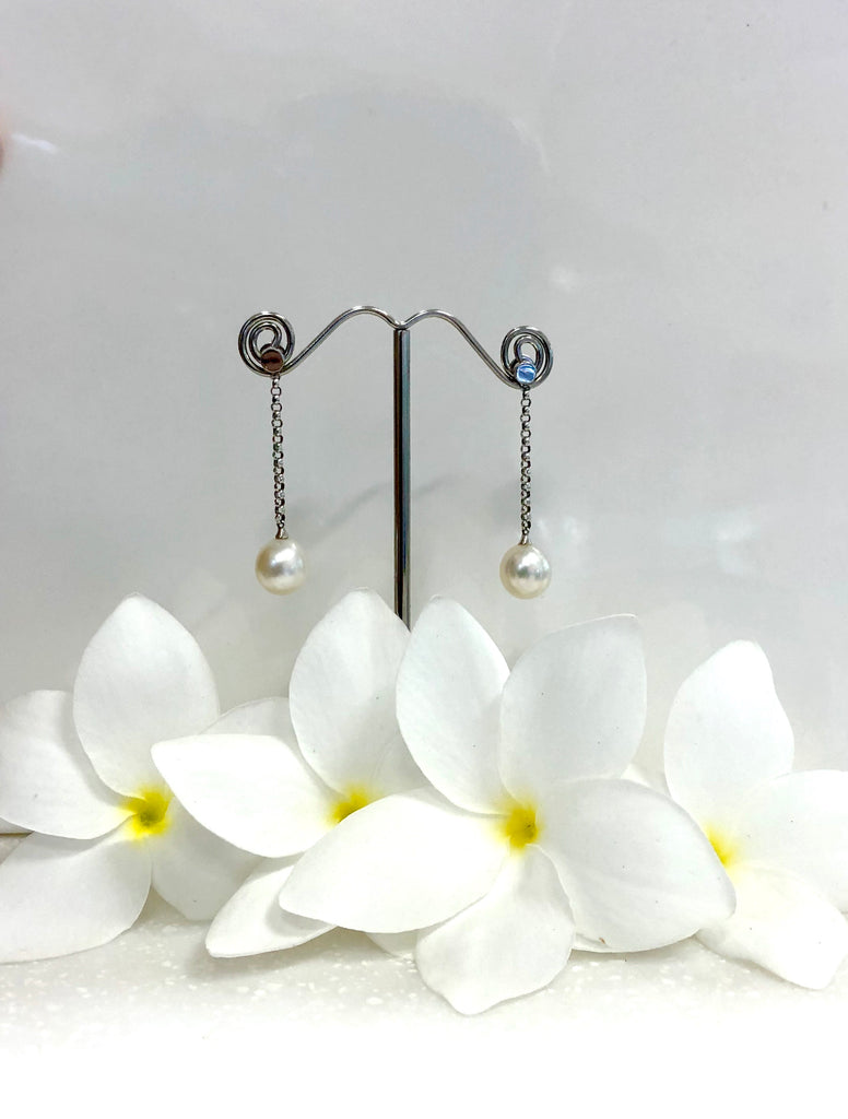 Dangle Broome Pearl Earrings 18ct White Gold