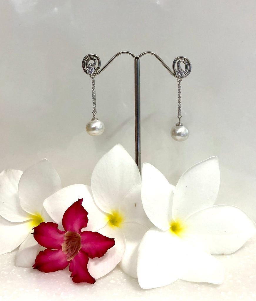 Dangle Broome Pearl Cubic Zirconia Earrings
