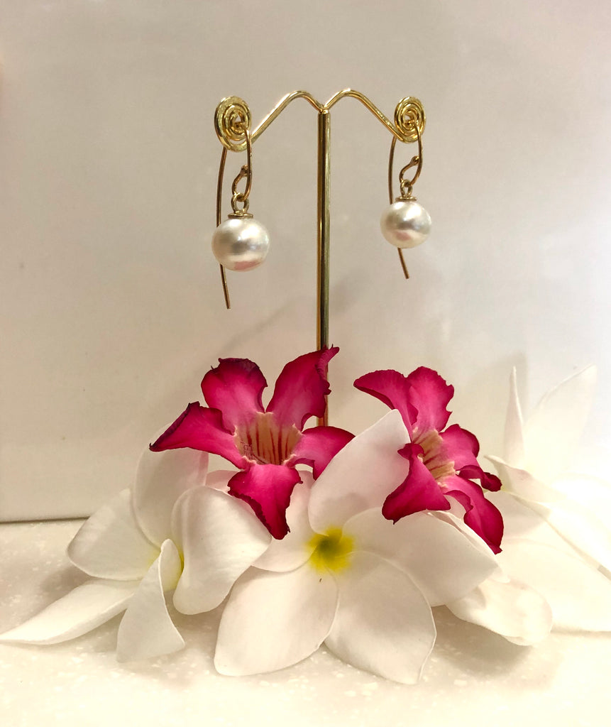 Broome Pearl Earrings 9ct Yellow Gold French Hooks