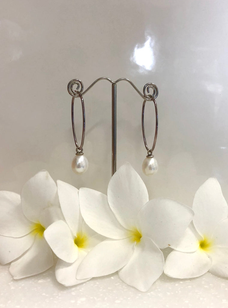 Freshwater Sterling Sliver Dangle Pearl Earrings