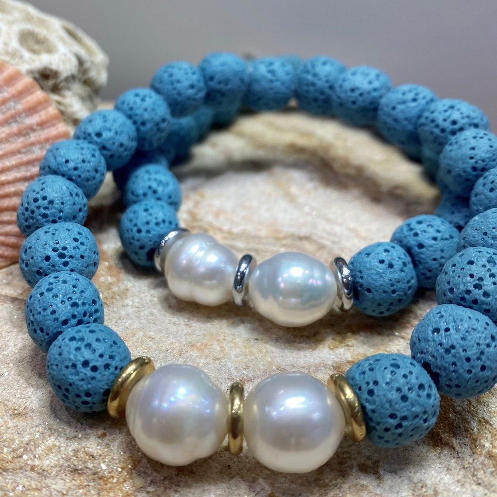 Turquoise Broome Pearl Stretch Bracelet