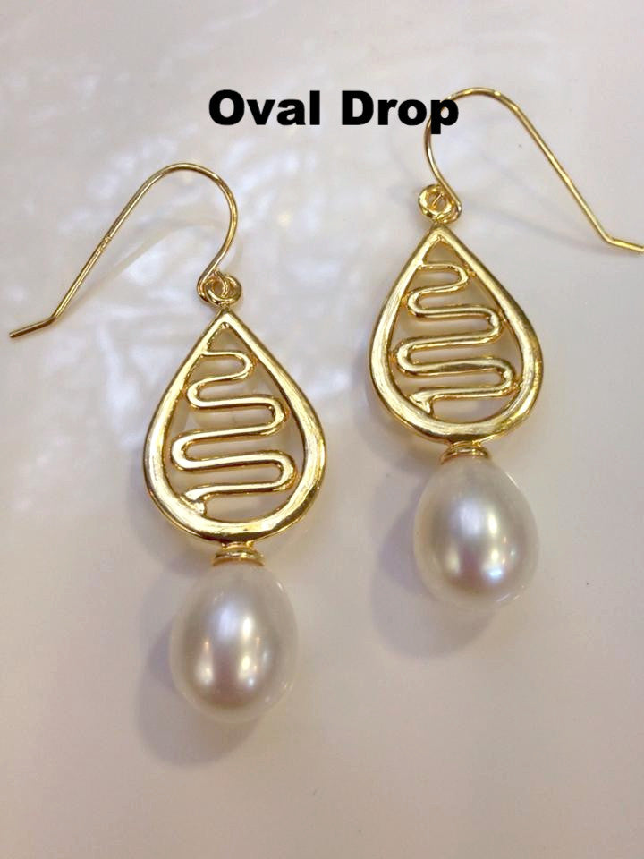 Cultured Freshwater Pearl Staircase Earrings Gold