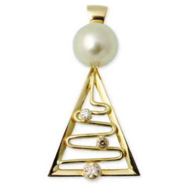 Broome Pearl and Diamond Entrance Point Staircase Pendant 18ct Gold