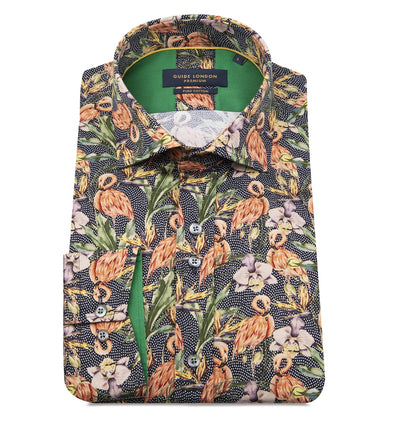 Guide London Long Sleeve Shirt - Flamingos and Water Flora