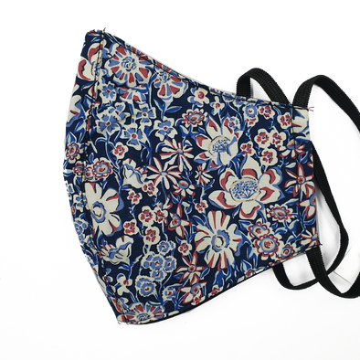 Liberty Art Merino Lined Face Mask - Red & Blue Floral